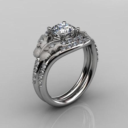 14KT White Gold Diamond Leaf and Vine White Sapphire Wedding RingEngagement Ring NN117SS-14KWGDWS Nature Inspired Jewelry-1