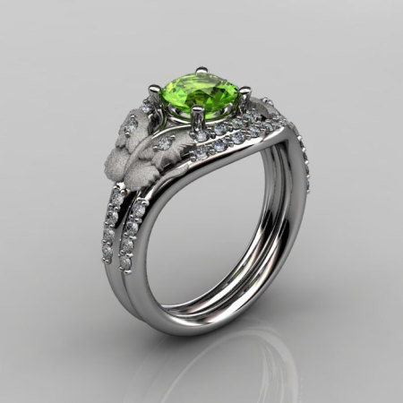 14KT White Gold Diamond Leaf and Vine Peridot Wedding RingEngagement Ring NN117SS-14KWGDP Nature Inspired Jewelry-1