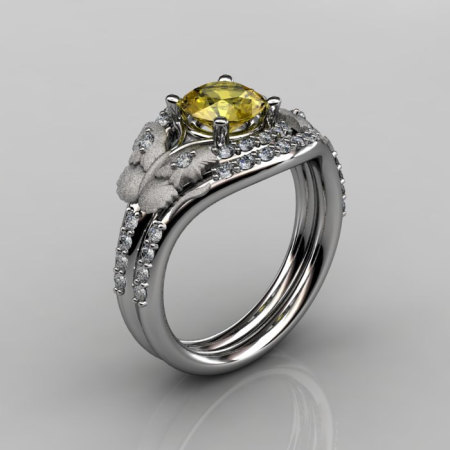 14KT White Gold Diamond Leaf and Vine Yellow Sapphire Wedding RingEngagement Ring NN117SS-14KWGDBS Nature Inspired Jewelry-1