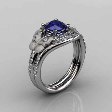 Nature Inspired 18K White Gold 1.0 CT Blue Sapphire Diamond Butterfly and Vine Engagement Ring Wedding Band Set NN117SS-18KWGDBS-1