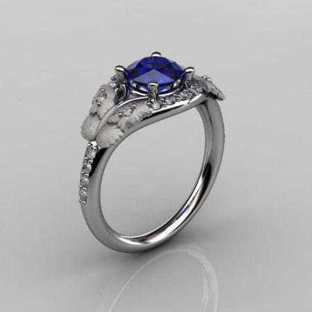 Nature Inspired 18K White Gold 1.0 CT Blue Sapphire Diamond Butterfly and Vine Engagement Ring Wedding Ring NN117S-18KWGDBS-1