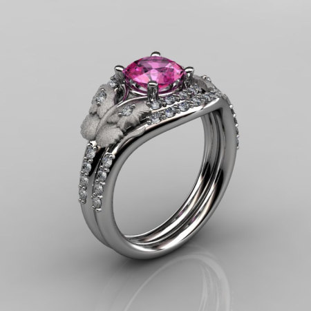 Nature Inspired 18K White Gold 1.0 CT Pink Sapphire Diamond Butterfly and Vine Engagement Ring Wedding Band Set NN117SS-18KWGDPS-1