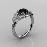 Nature Inspired 10K White Gold 1.0 CT Black Diamond Butterfly and Vine Engagement Ring Wedding Ring NN117S-10KWGDCHD-1