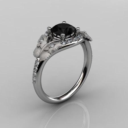 Nature Inspired 10K White Gold 1.0 CT Black Diamond Butterfly and Vine Engagement Ring Wedding Ring NN117S-10KWGDCHD-1