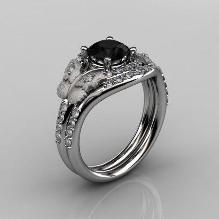 Nature Inspired 10K White Gold 1.0 CT Black Diamond Butterfly and Vine Engagement Ring Wedding Band Set NN117SS-10KWGDBD-1