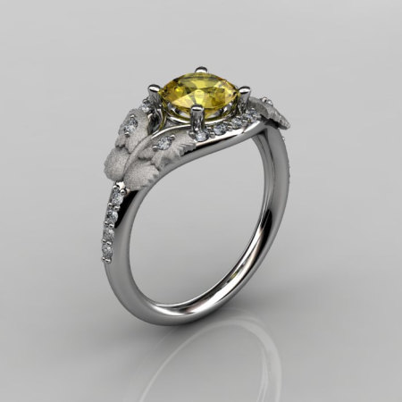 Nature Inspired 10K White Gold 1.0 CT Yellow Sapphire Diamond Butterfly and Vine Engagement Ring Wedding Ring NN117S-10KWGDYS-1
