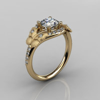Nature Inspired 18K Yellow Gold 1.0 CT White Sapphire Diamond Butterfly and Vine Engagement Ring Wedding Ring NN117S-18KYGDWS-1