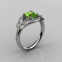 Nature Inspired 10K White Gold 1.0 CT Peridot Diamond Butterfly and Vine Engagement Ring Wedding Ring NN117S-10KWGDP-1