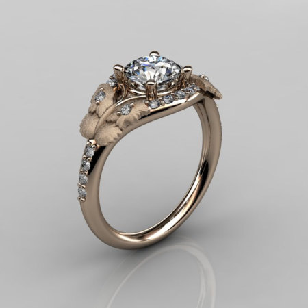 Nature Inspired 18K Rose Gold 1.0 CT White Sapphire Diamond Butterfly and Vine Engagement Ring Wedding Ring NN117S-18KRGDWS-1
