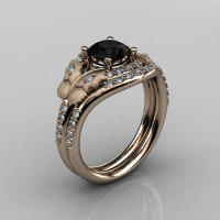 Nature Inspired 18K Rose Gold 1.0 CT Black Diamond Butterfly and Vine Engagement Ring Wedding Band Set NN117SS-18KRGDBD-1
