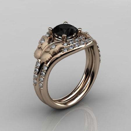 Nature Inspired 18K Rose Gold 1.0 CT Black Diamond Butterfly and Vine Engagement Ring Wedding Band Set NN117SS-18KRGDBD-1