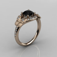 Nature Inspired 18K Rose Gold 1.0 CT Black Diamond Butterfly and Vine Engagement Ring Wedding Ring NN117S-18KRGDBD-1