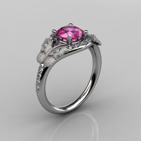 Nature Inspired 18K White Gold 1.0 CT Pink Sapphire Diamond Butterfly and Vine Engagement Ring Wedding Ring NN117S-18KWGDPS-1