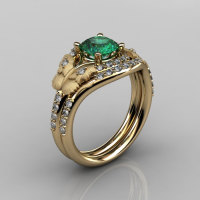 Nature Inspired 14K Yellow Gold 1.0 CT Emerald Diamond Butterfly and Vine Engagement Ring Wedding Band Set NN117SS-14KYGDEM-1