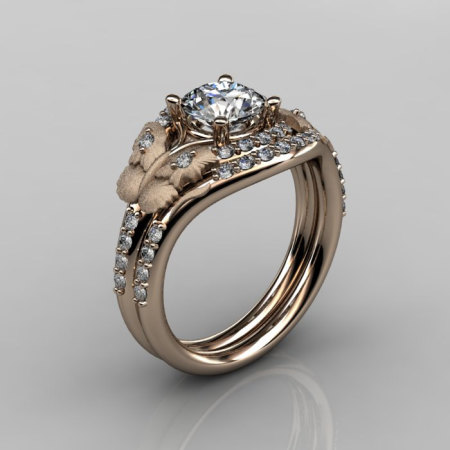 Nature Inspired 18K Rose Gold 1.0 CT White Sapphire Diamond Butterfly and Vine Engagement Ring Wedding Band Set NN117SS-18KRGDWS-1