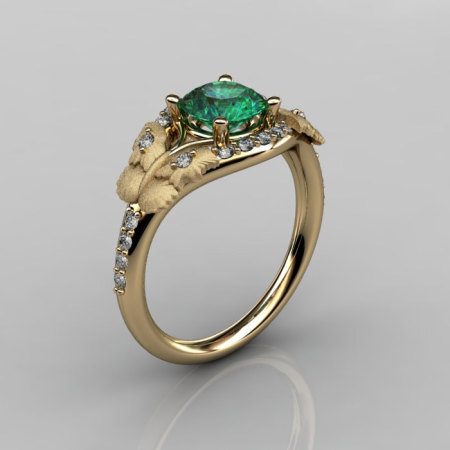 Nature Inspired 14K Yellow Gold 1.0 CT Emerald Diamond Butterfly and Vine Engagement Ring Wedding Ring NN117S-14KYGDEM-1