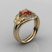 Nature Inspired 14K Yellow Gold 1.0 CT Orange Citrine Diamond Butterfly and Vine Engagement Ring Wedding Band Set NN117SS-14KYGDOC-1