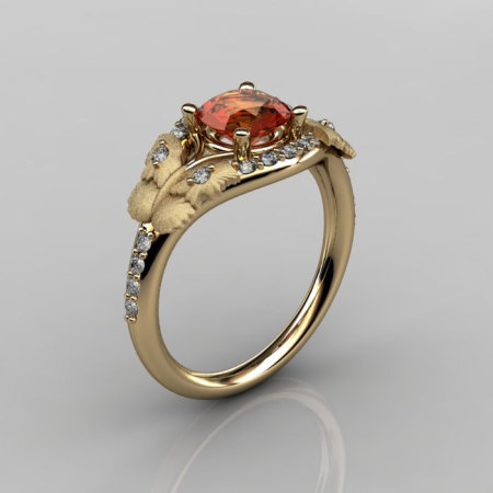 Nature Inspired 14K Yellow Gold 1.0 CT Orange Citrine Diamond Butterfly and Vine Engagement Ring Wedding Ring NN117S-14KYGDOC-1