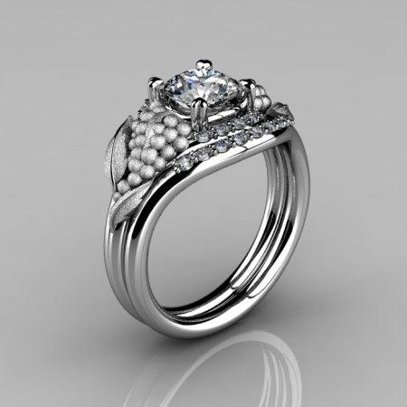 Nature Inspired 14K White Gold 1.0 CT White Sapphire Diamond Grape Vine and Leaf Engagement Ring Set NN118SS-14KWGDWS-1