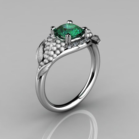 Nature Inspired 14K White Gold 1.0 CT Emerald Diamond Grape Vine and Leaf Engagement Ring NN118S-14KWGDEM-1