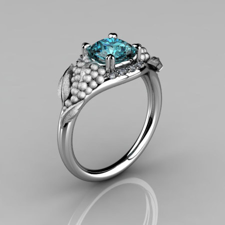 Nature Inspired 950 Platinum 1.0 CT Aquamarine Diamond Grape Vine and Leaf Engagement Ring NN118S-PLATDAQ-1