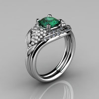 Nature Inspired 14K White Gold 1.0 CT Emerald Diamond Grape Vine and Leaf Engagement Ring Set NN118SS-14KWGDEM-1