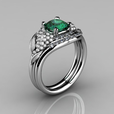 Nature Inspired 14K White Gold 1.0 CT Emerald Diamond Grape Vine and Leaf Engagement Ring Set NN118SS-14KWGDEM-1