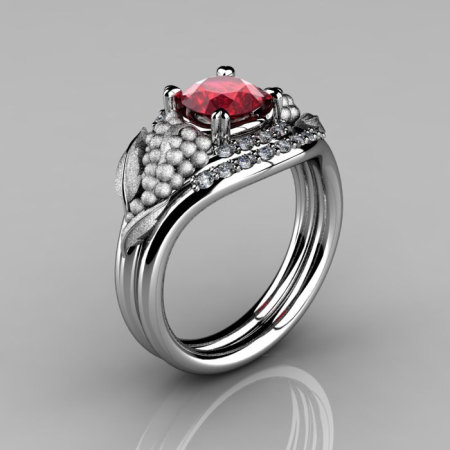 Nature Inspired 14K White Gold 1.0 CT Ruby Diamond Grape Vine and Leaf Engagement Ring Set NN118SS-14KWGDR-1
