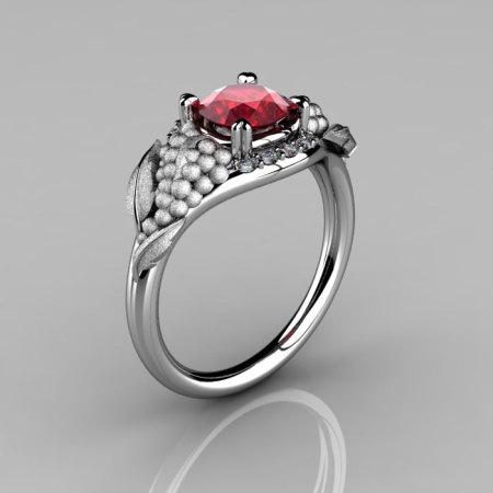 Nature Inspired 14K White Gold 1.0 CT Ruby Diamond Grape Vine and Leaf Engagement Ring NN118S-14KWGDR-1