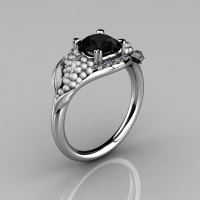 Nature Inspired 14K White Gold 1.0 CT Black and White Diamond Grape Vine and Leaf Engagement Ring NN118S-14KWGBD-1