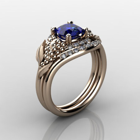 Nature Inspired 14K Rose Gold 1.0 CT Blue Sapphire Diamond Grape Vine and Leaf Engagement Ring Set NN118SS-14KRGDBS-1