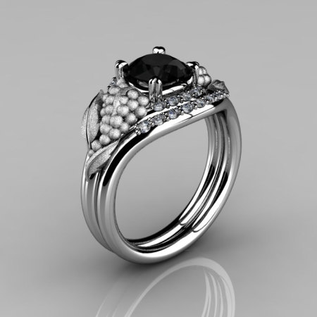 Nature Inspired 14K White Gold 1.0 CT Black and White Diamond Grape Vine and Leaf Engagement Ring Set NN118SS-14KWGBD-1