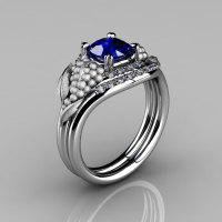 Nature Inspired 14K White Gold 1.0 CT Blue Sapphire Diamond Grape Vine and Leaf Engagement Ring Set NN118SS-14KWGDBS-1