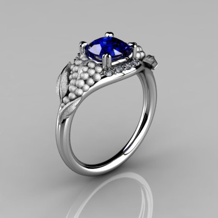 Nature Inspired 14K White Gold 1.0 CT Blue Sapphire Diamond Grape Vine and Leaf Engagement Ring NN118S-14KWGDBS-1