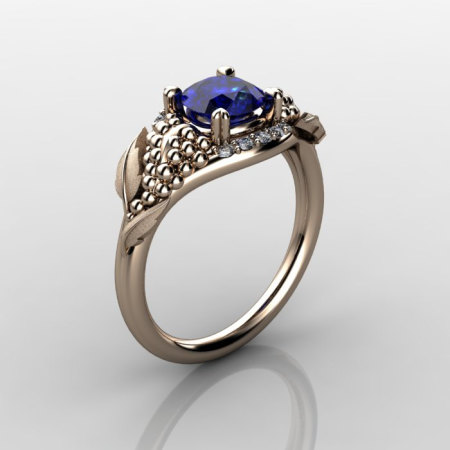 Nature Inspired 14K Rose Gold 1.0 CT Blue Sapphire Diamond Grape Vine and Leaf Engagement Ring NN118S-14KRGDBS-1