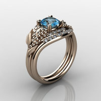 Nature Inspired 18K Rose Gold 1.0 CT Blue Topaz Diamond Grape Vine and Leaf Engagement Ring Set NN118SS-18KRGDBT-1