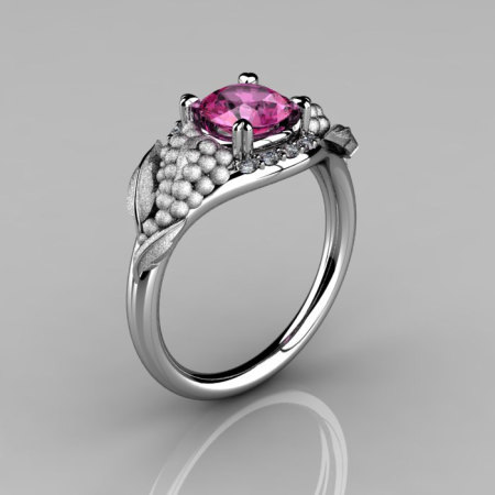 Nature Inspired 14K White Gold 1.0 CT Pink Sapphire Diamond Grape Vine and Leaf Engagement Ring NN118S-14KWGDPS-1