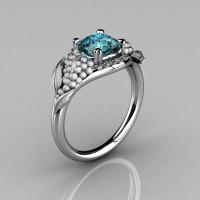 Nature Inspired 14K White Gold 1.0 CT Aquamarine Diamond Grape Vine and Leaf Engagement Ring NN118S-14KWGDAQ-1