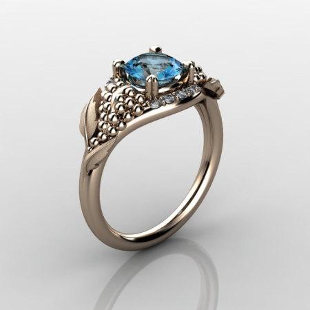Nature Inspired 18K Rose Gold 1.0 CT Blue Topaz Diamond Grape Vine and Leaf Engagement Ring NN118S-14KRGDBT-1