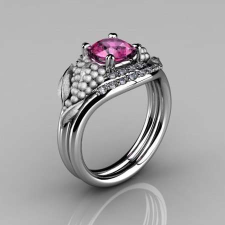 Nature Inspired 14K White Gold 1.0 CT Pink Sapphire Diamond Grape Vine and Leaf Engagement Ring Set NN118SS-14KWGDPS-1
