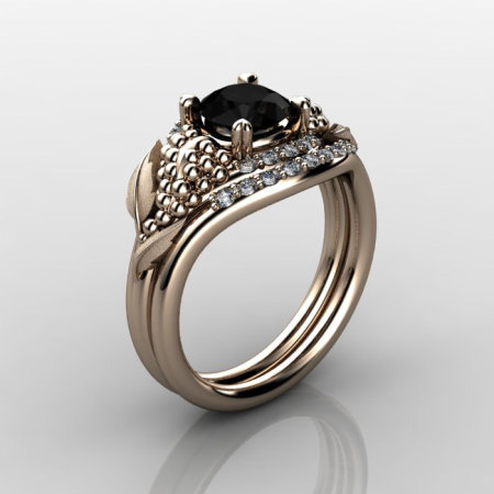 Nature Inspired 18K Rose Gold 1.0 CT Black Diamond Grape Vine and Leaf Engagement Ring Set NN118SS-18KRGDBD-1