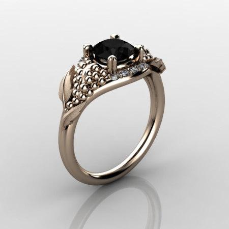 Nature Inspired 18K Rose Gold 1.0 CT Black Diamond Grape Vine and Leaf Engagement Ring NN118S-14KRGDBD-1