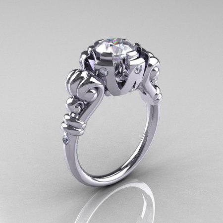 Modern Vintage 14K White Gold 1.0 Carat White Sapphire Diamond Ring RR130-14KWGDWS-1