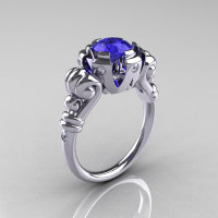 Modern Vintage 14K White Gold 1.0 Carat Tanzanite Diamond Ring RR130-14KWGDTZ-1