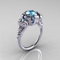 Modern Vintage 10K White Gold 1.0 Carat Aquamarine Diamond Ring RR130-10KWGDAQ-1