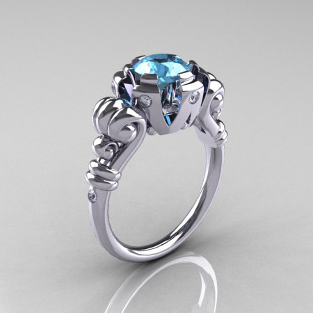 Modern Vintage 10K White Gold 1.0 Carat Aquamarine Diamond Ring RR130-10KWGDAQ-1