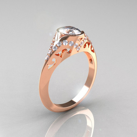 Classic 14K Rose Gold Oval White Sapphire Diamond Wedding Ring Engagement Ring R194-14KRGDNWS-1