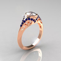 Classic 14K Rose Gold Oval White and Blue Sapphire Wedding Ring Engagement Ring R194-14KRGBSNWS-1
