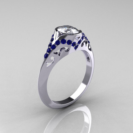 Classic 14K White Gold Oval White and Blue Sapphire Wedding Ring Engagement Ring R194-14KWGBSNWS-1