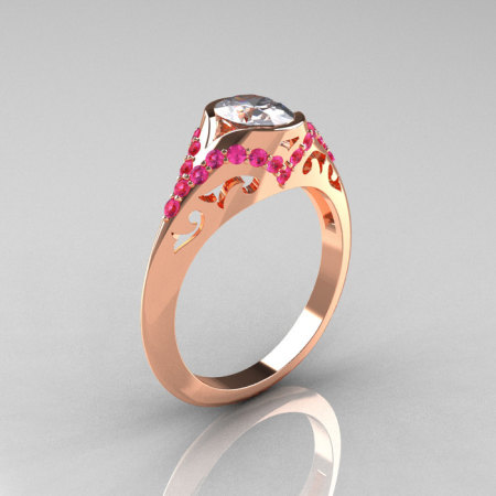 Classic 14K Rose Gold Oval White and Pink Sapphire Wedding Ring Engagement Ring R194-14KRGPSNWS-1